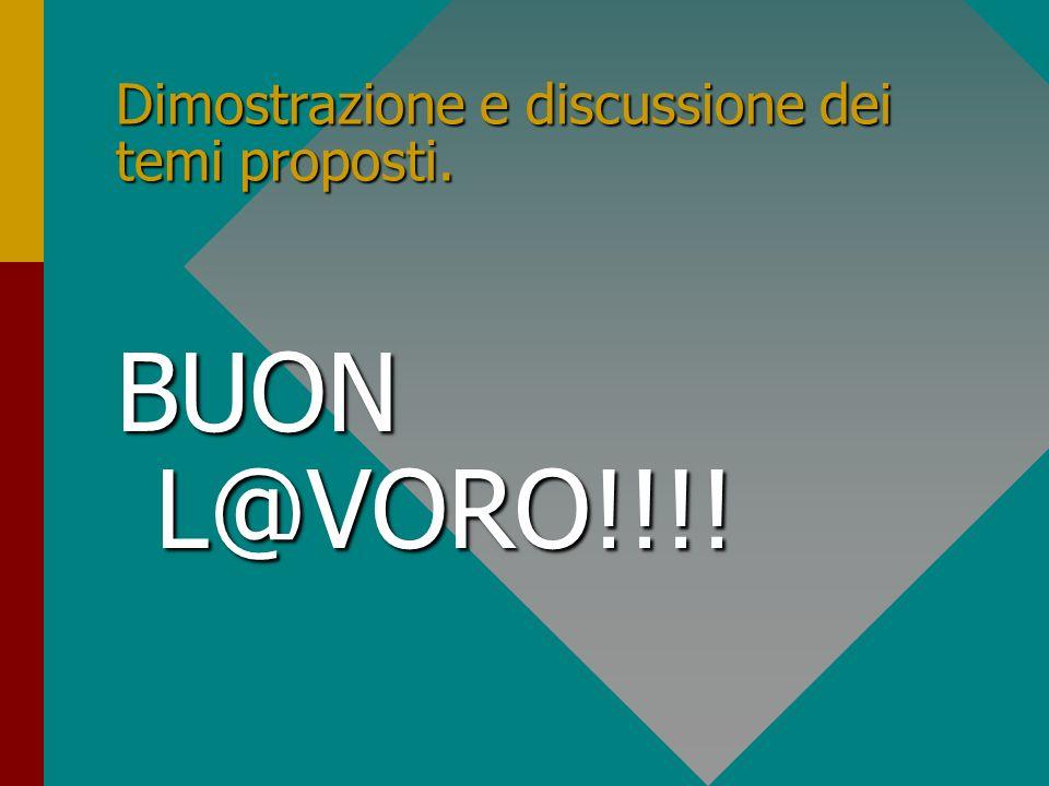 Dimostrazione e discussione dei temi proposti. BUON L@VORO!!!!