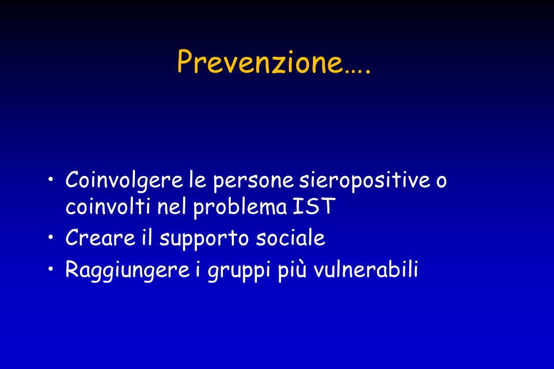 Prevenzione…. Creare servizi friendly Promuovere i test diagnostici Coinvolgere i giovani nella prevenzione