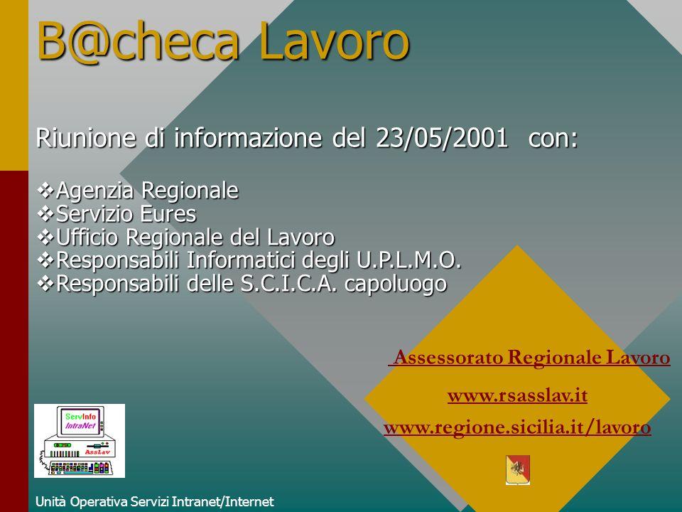 B@checa Lavoro Unità Operativa Servizi Intranet/Internet Assessorato Regionale Lavoro www.rsasslav.it www.regione.sicilia.it/lavoro Riunione di inform