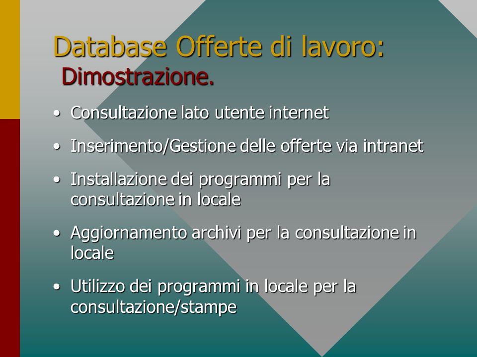 Database Offerte di lavoro: Dimostrazione. Consultazione lato utente internetConsultazione lato utente internet Inserimento/Gestione delle offerte via