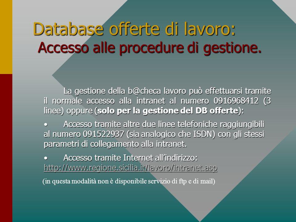 Database offerte di lavoro: Accesso alle procedure di gestione. La gestione della b@checa lavoro può effettuarsi tramite il normale accesso alla intra