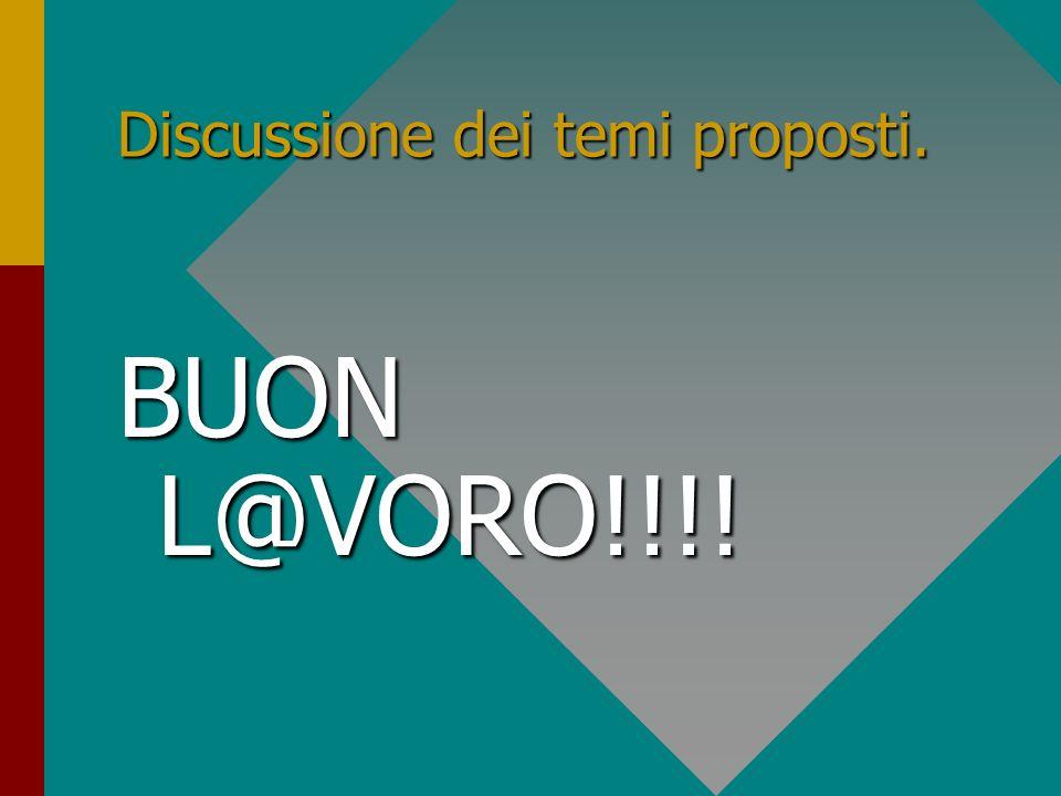 Discussione dei temi proposti. BUON L@VORO!!!!