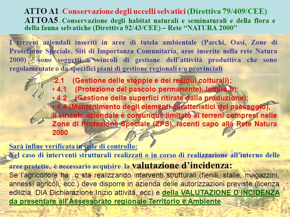 I terreni aziendali inseriti in aree di tutela ambientale (Parchi, Oasi, Zone di Protezione Speciale, Siti di Importanza Comunitaria, aree inserite ne