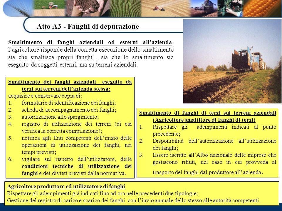 Atto A3 - Fanghi di depurazione Smaltimento di fanghi aziendali od esterni allazienda, lagricoltore risponde della corretta esecuzione dello smaltimen