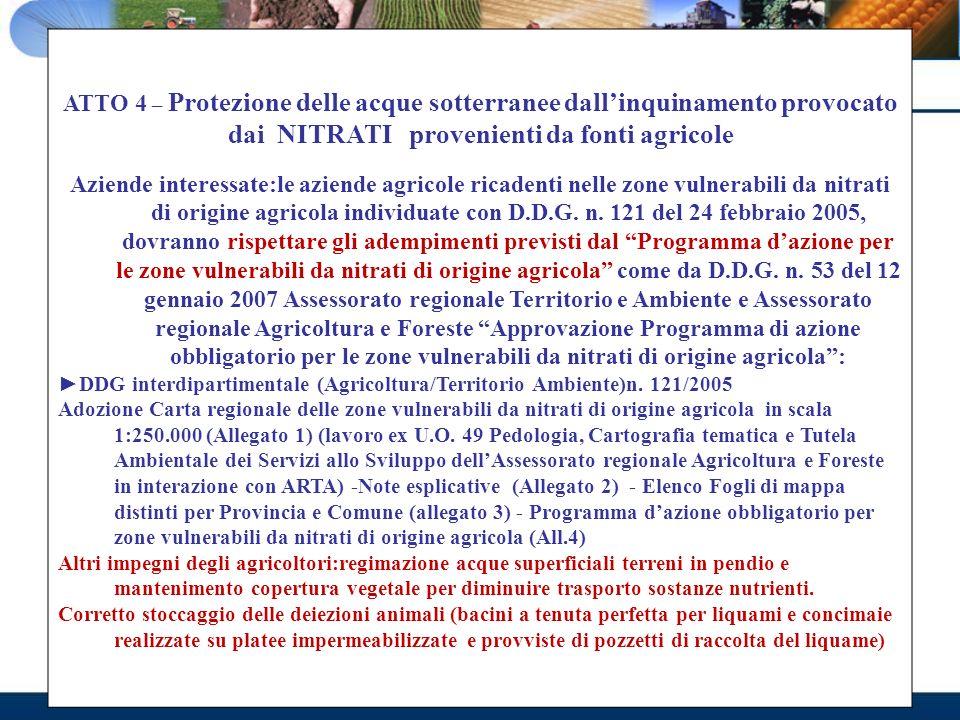 ATTO 4 – Protezione delle acque sotterranee dallinquinamento provocato dai NITRATI provenienti da fonti agricole Aziende interessate:le aziende agrico