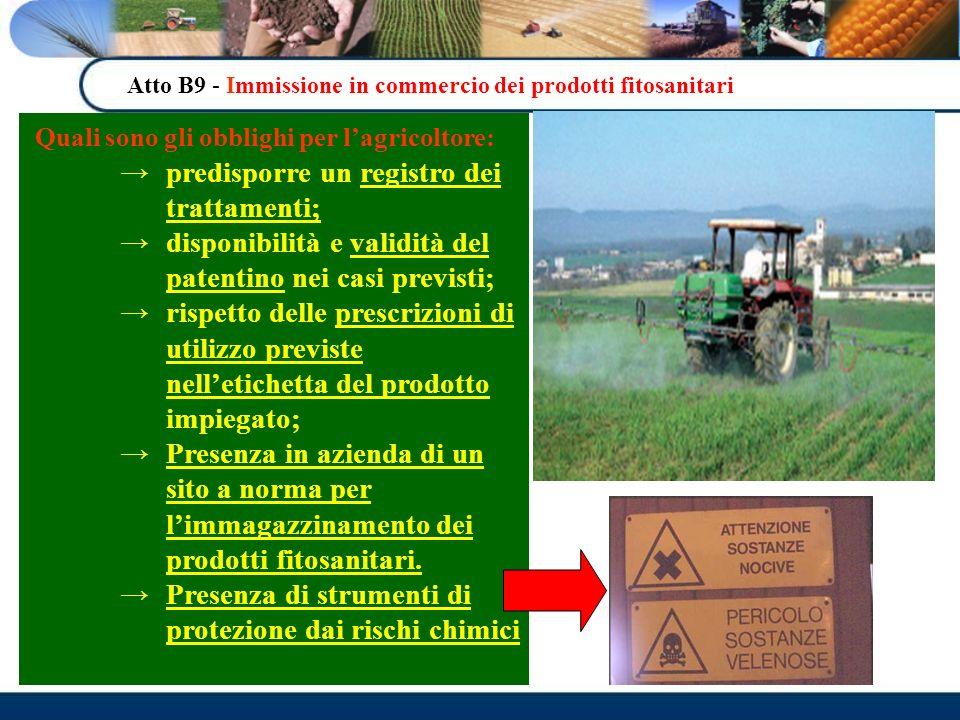 Atto B9 - Immissione in commercio dei prodotti fitosanitari Quali sono gli obblighi per lagricoltore: predisporre un registro dei trattamenti; disponi
