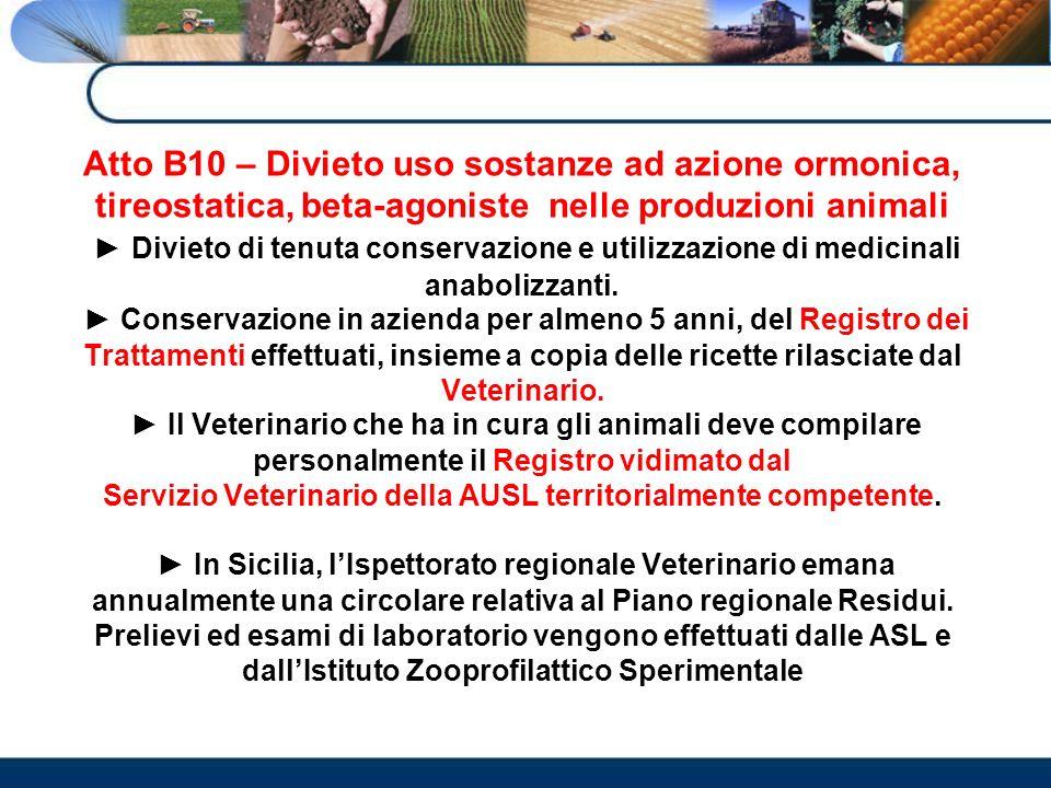 Atto B10 – Divieto uso sostanze ad azione ormonica, tireostatica, beta-agoniste nelle produzioni animali Divieto di tenuta conservazione e utilizzazio
