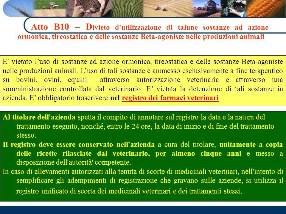 Atto B10 – D ivieto d'utilizzazione di talune sostanze ad azione ormonica, tireostatica e delle sostanze Beta-agoniste nelle produzioni animali E viet