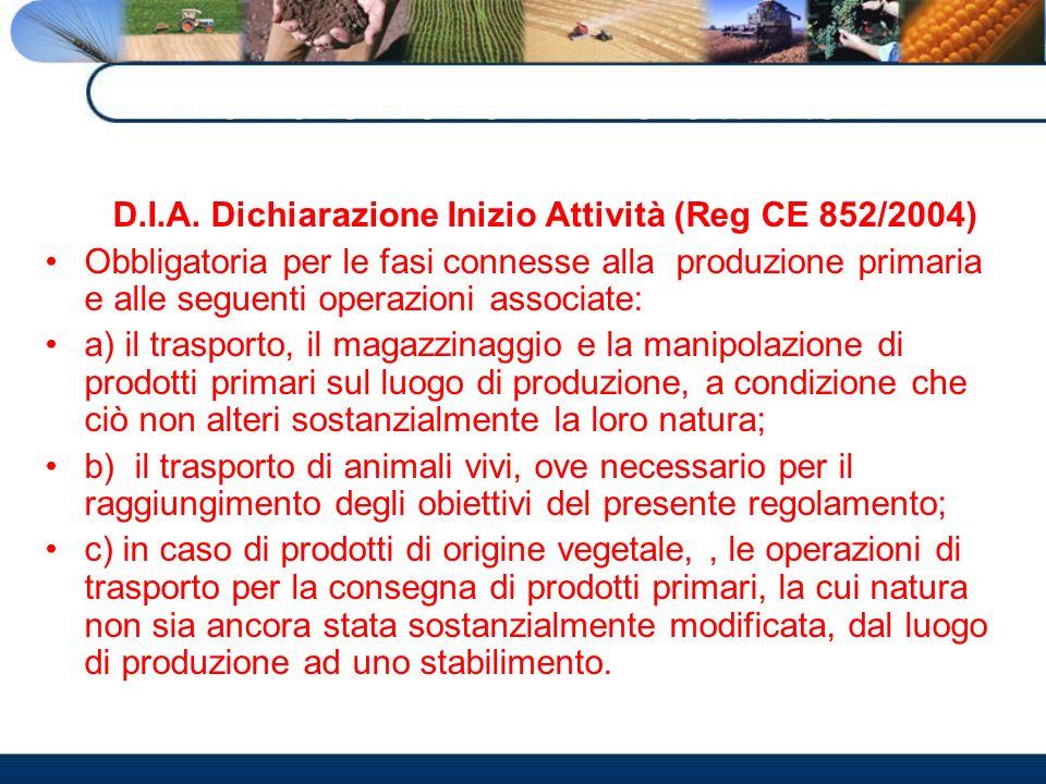 Dichiarazione Inizio attivitàA D.I.A. Dichiarazione Inizio Attività (Reg CE 852/2004) Obbligatoria per le fasi connesse alla produzione primaria e all