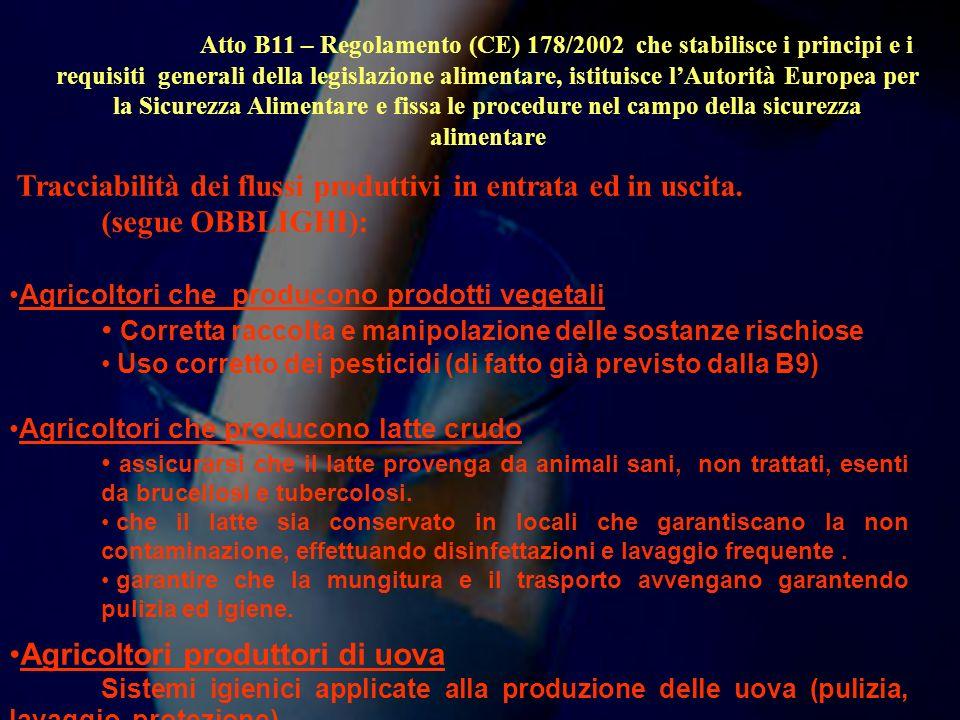 Atto B11 – Regolamento (CE) 178/2002 che stabilisce i principi e i requisiti generali della legislazione alimentare, istituisce lAutorità Europea per