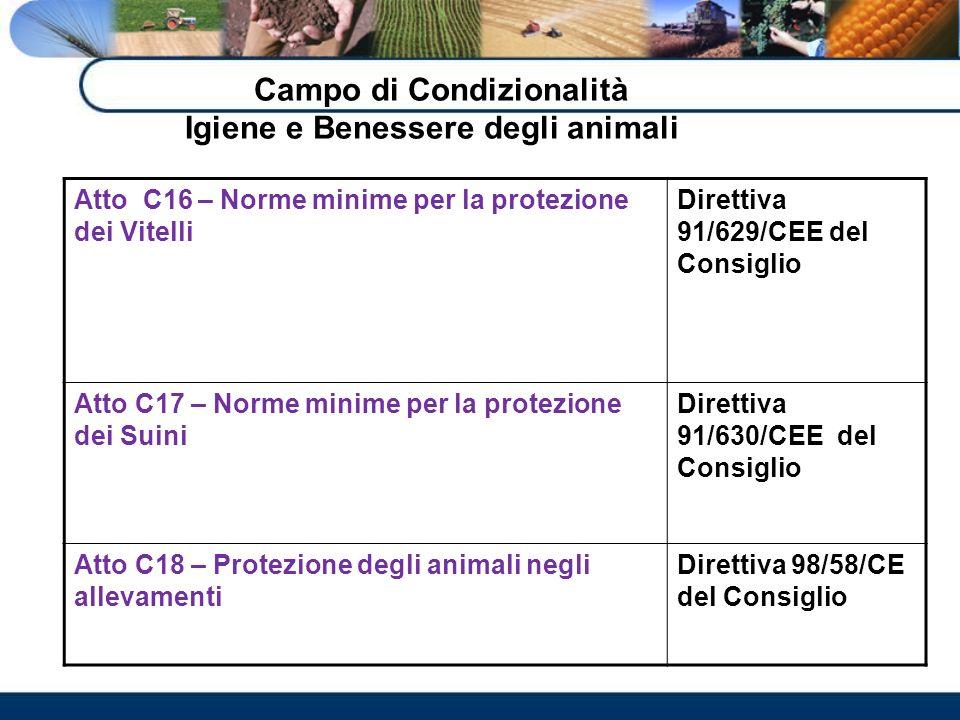 Campo di Condizionalità Igiene e Benessere degli animali Atto C16 – Norme minime per la protezione dei Vitelli Direttiva 91/629/CEE del Consiglio Atto