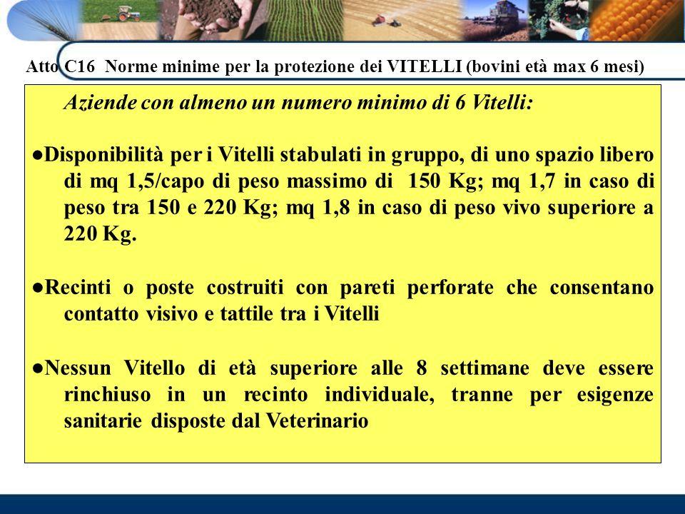 Atto C16 Norme minime per la protezione dei VITELLI (bovini età max 6 mesi) Aziende con almeno un numero minimo di 6 Vitelli: Disponibilità per i Vite