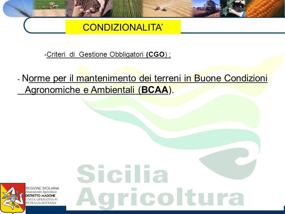 CONDIZIONALITA - Criteri di Gestione Obbligatori (CGO) ; - Norme per il mantenimento dei terreni in Buone Condizioni Agronomiche e Ambientali (BCAA).