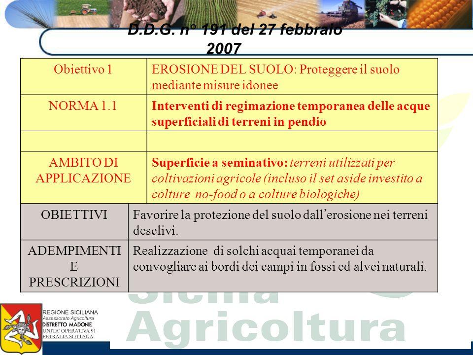 D.D.G. n° 191 del 27 febbraio 2007 Obiettivo 1EROSIONE DEL SUOLO: Proteggere il suolo mediante misure idonee NORMA 1.1Interventi di regimazione tempor