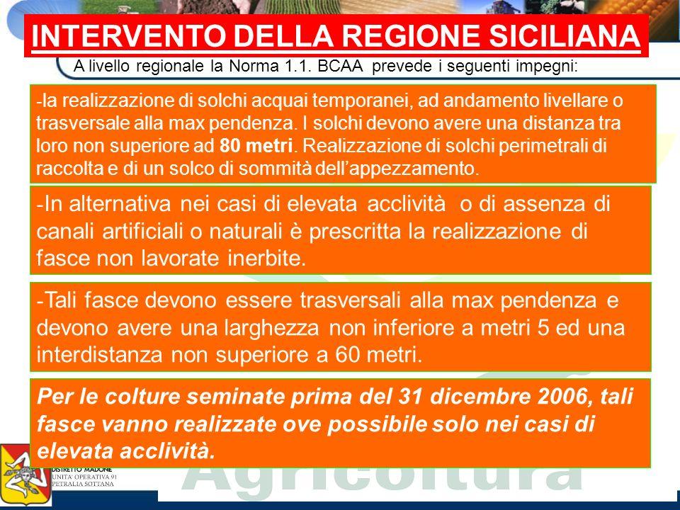 INTERVENTO DELLA REGIONE SICILIANA A livello regionale la Norma 1.1. BCAA prevede i seguenti impegni: - la realizzazione di solchi acquai temporanei,