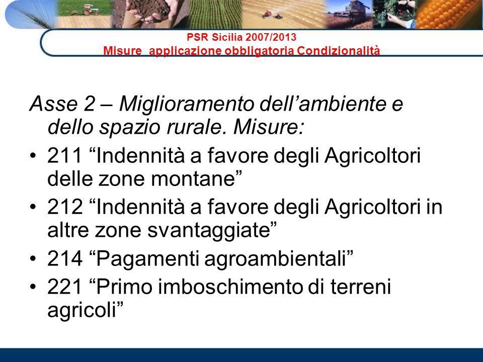 PSR Sicilia 2007/2013 Misure applicazione obbligatoria Condizionalità Asse 2 – Miglioramento dellambiente e dello spazio rurale. Misure: 211 Indennità