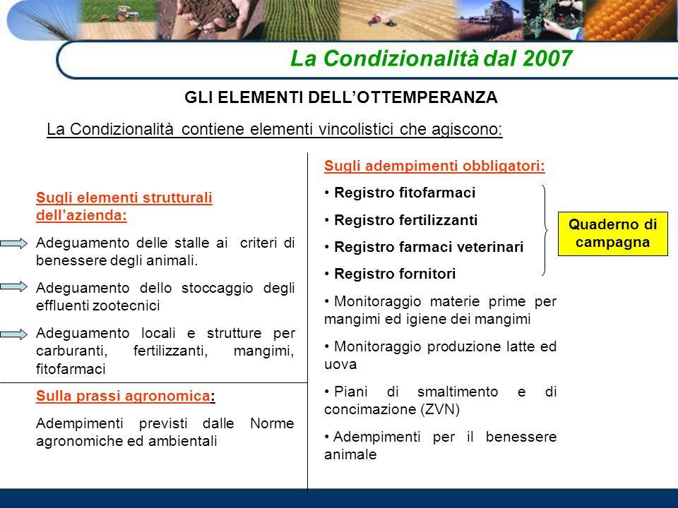 La Condizionalità dal 2007 GLI ELEMENTI DELLOTTEMPERANZA La Condizionalità contiene elementi vincolistici che agiscono: Sugli elementi strutturali del