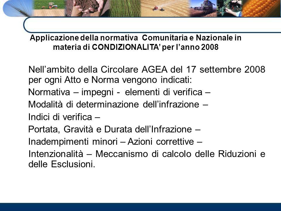 Applicazione della normativa Comunitaria e Nazionale in materia di CONDIZIONALITA per lanno 2008 Nellambito della Circolare AGEA del 17 settembre 2008