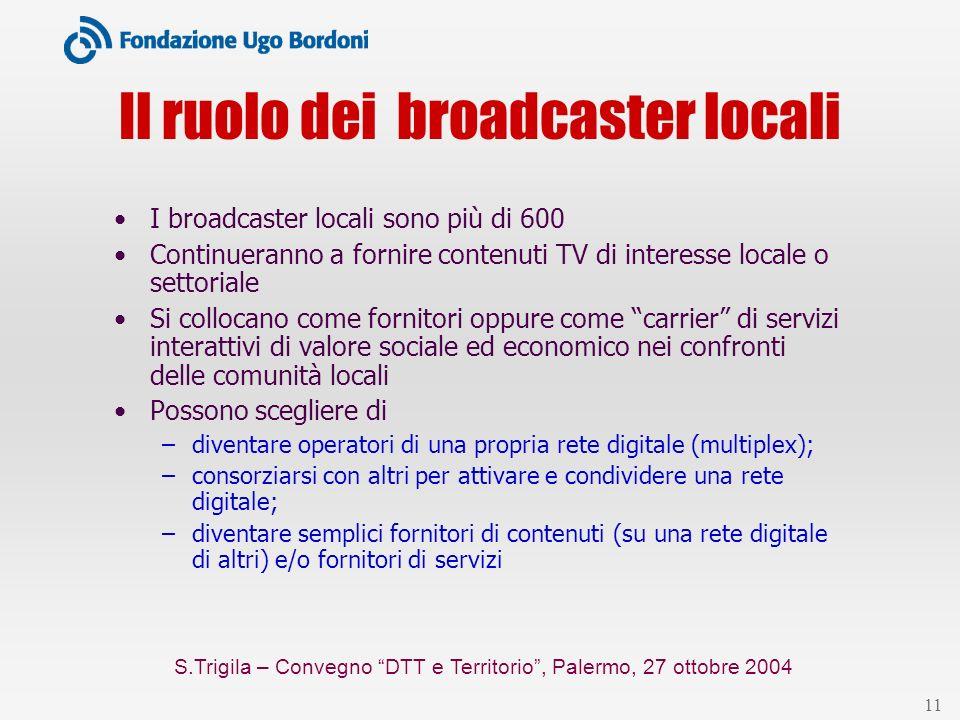 S.Trigila – Convegno DTT e Territorio, Palermo, 27 ottobre 2004 11 Il ruolo dei broadcaster locali I broadcaster locali sono più di 600 Continueranno