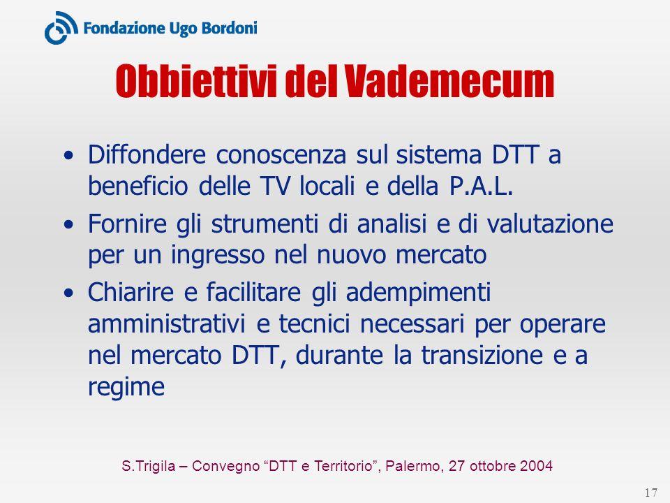 S.Trigila – Convegno DTT e Territorio, Palermo, 27 ottobre 2004 17 Obbiettivi del Vademecum Diffondere conoscenza sul sistema DTT a beneficio delle TV locali e della P.A.L.