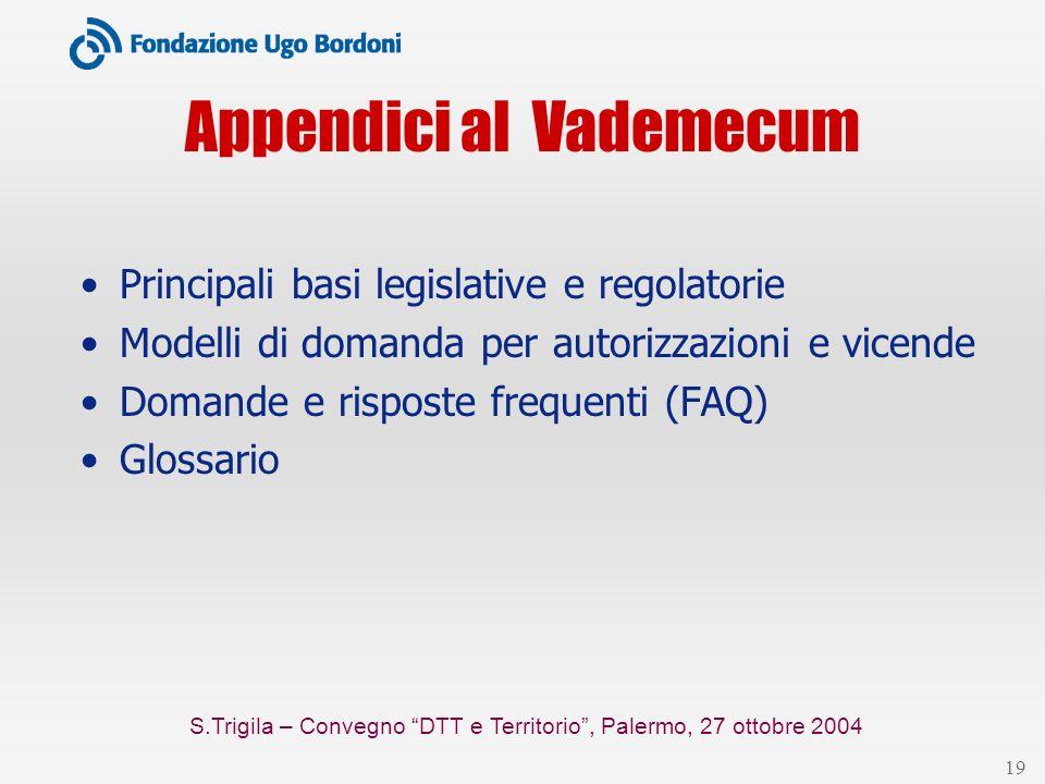 S.Trigila – Convegno DTT e Territorio, Palermo, 27 ottobre 2004 19 Appendici al Vademecum Principali basi legislative e regolatorie Modelli di domanda