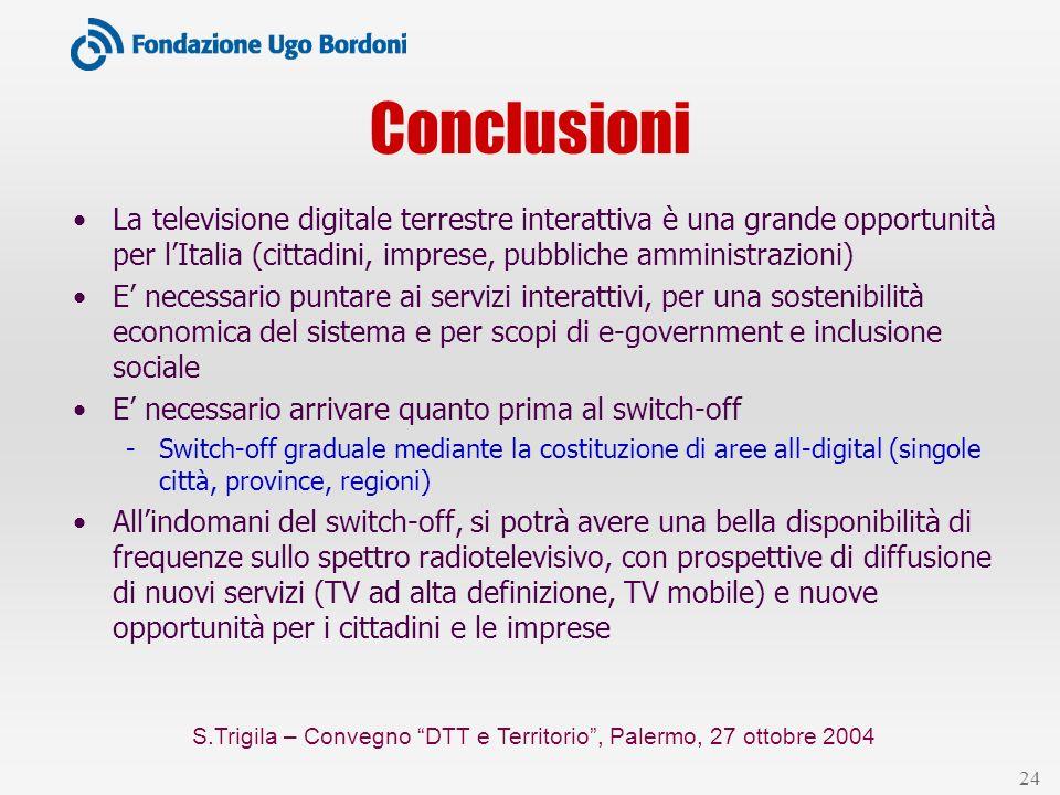 S.Trigila – Convegno DTT e Territorio, Palermo, 27 ottobre 2004 24 Conclusioni La televisione digitale terrestre interattiva è una grande opportunità