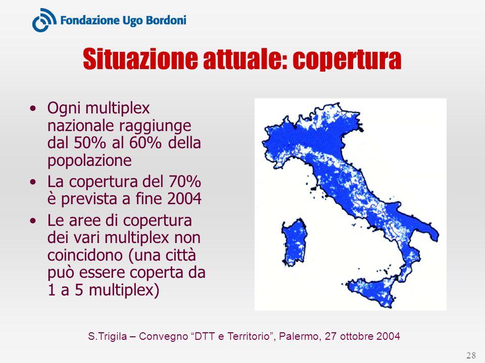 S.Trigila – Convegno DTT e Territorio, Palermo, 27 ottobre 2004 28 Situazione attuale: copertura Ogni multiplex nazionale raggiunge dal 50% al 60% del