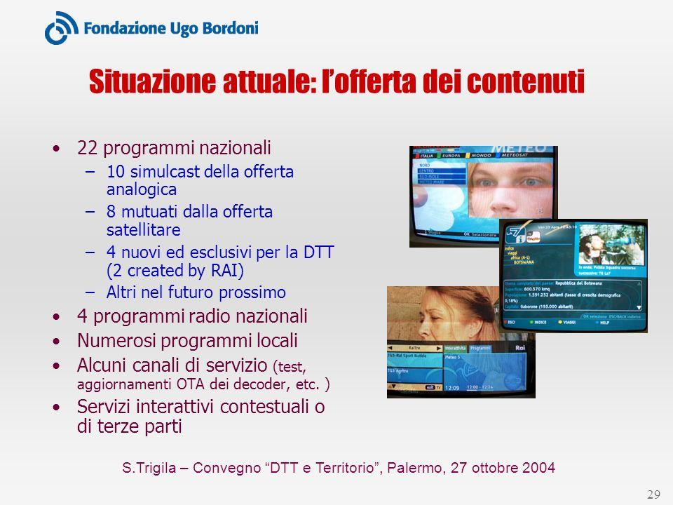 S.Trigila – Convegno DTT e Territorio, Palermo, 27 ottobre 2004 29 Situazione attuale: lofferta dei contenuti 22 programmi nazionali –10 simulcast del