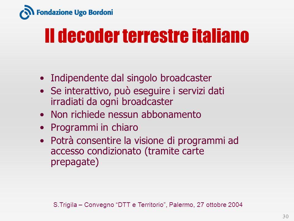 S.Trigila – Convegno DTT e Territorio, Palermo, 27 ottobre 2004 30 Il decoder terrestre italiano Indipendente dal singolo broadcaster Se interattivo,
