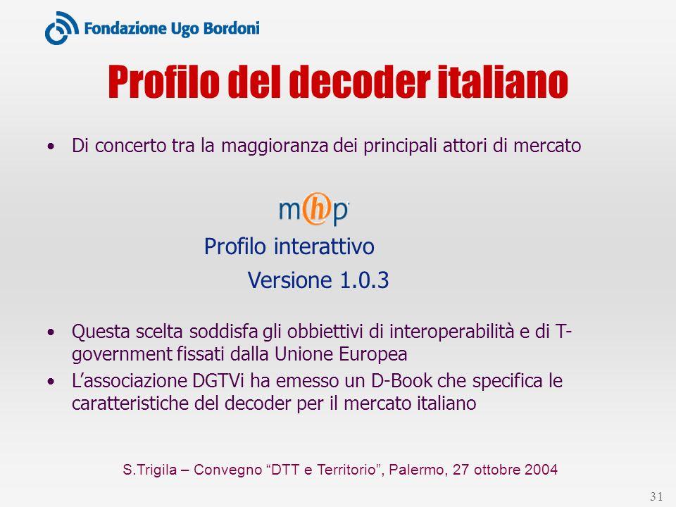S.Trigila – Convegno DTT e Territorio, Palermo, 27 ottobre 2004 31 Profilo del decoder italiano Di concerto tra la maggioranza dei principali attori d