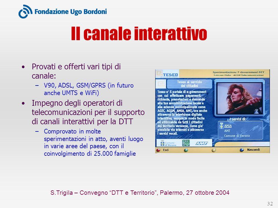 S.Trigila – Convegno DTT e Territorio, Palermo, 27 ottobre 2004 32 Il canale interattivo Provati e offerti vari tipi di canale: –V90, ADSL, GSM/GPRS (