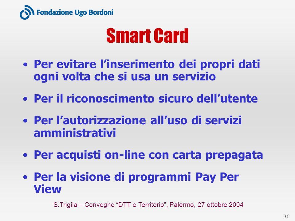 S.Trigila – Convegno DTT e Territorio, Palermo, 27 ottobre 2004 36 Smart Card Per evitare linserimento dei propri dati ogni volta che si usa un serviz