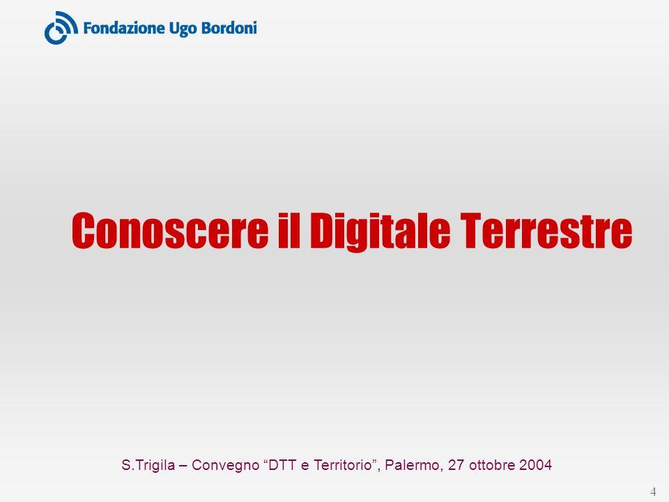 S.Trigila – Convegno DTT e Territorio, Palermo, 27 ottobre 2004 25 Per informazioni … Progetto Digitale Terrestre www.fub.it/dvb/dvbt dvb@fub.it www.dgtvi.it www.ambientedigitale.it www.sistemadigitale.it