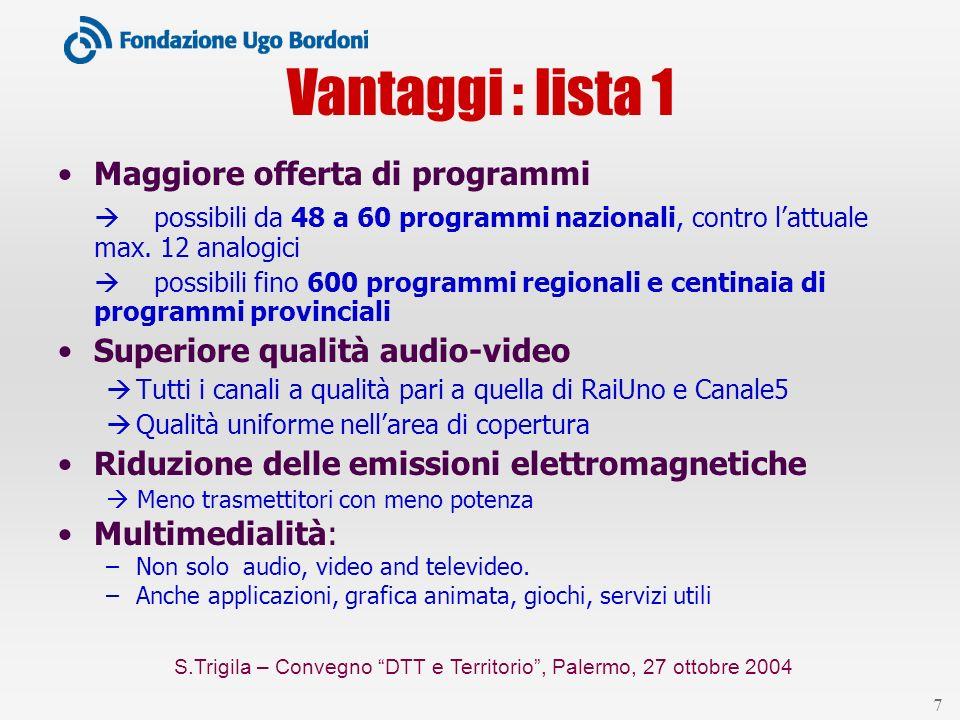 S.Trigila – Convegno DTT e Territorio, Palermo, 27 ottobre 2004 7 Vantaggi : lista 1 Maggiore offerta di programmi possibili da 48 a 60 programmi nazionali, contro lattuale max.