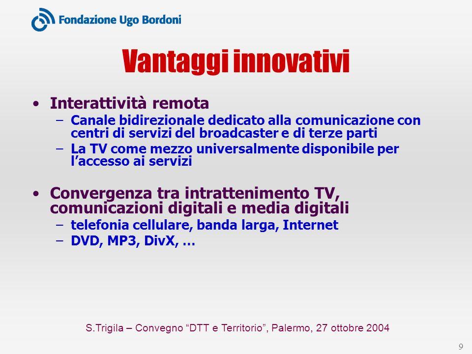 S.Trigila – Convegno DTT e Territorio, Palermo, 27 ottobre 2004 10 Rete, programmi e servizi Rete (Multiplex) Operatori di rete programma Fornitori di contenuti [convenzioni] servizio Fornitori di servizi [accordi] servizio