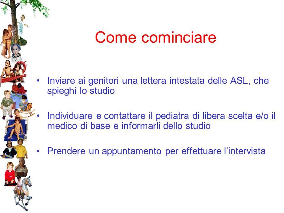 Come cominciare Inviare ai genitori una lettera intestata delle ASL, che spieghi lo studio Individuare e contattare il pediatra di libera scelta e/o il medico di base e informarli dello studio Prendere un appuntamento per effettuare lintervista