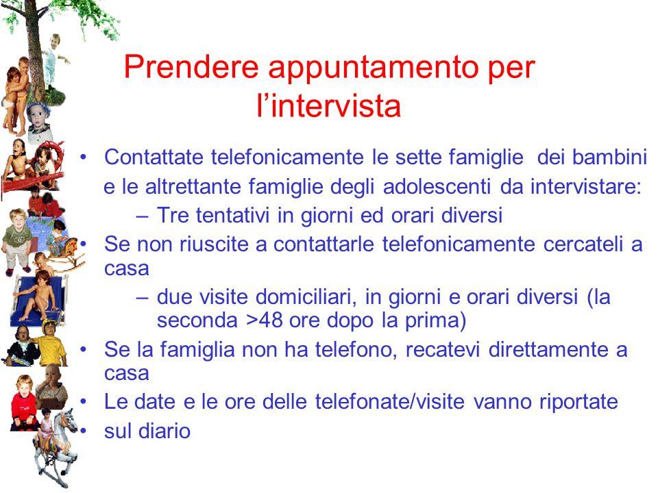 Prendere appuntamento per lintervista Contattate telefonicamente le sette famiglie dei bambini e le altrettante famiglie degli adolescenti da intervis