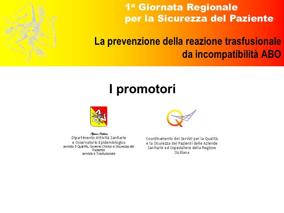 1 a Giornata Regionale per la Sicurezza del Paziente La prevenzione della reazione trasfusionale da incompatibilità ABO I promotori