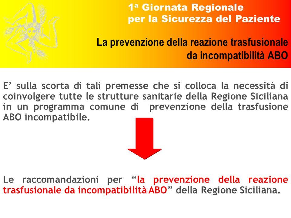1 a Giornata Regionale per la Sicurezza del Paziente La prevenzione della reazione trasfusionale da incompatibilità ABO E sulla scorta di tali premess