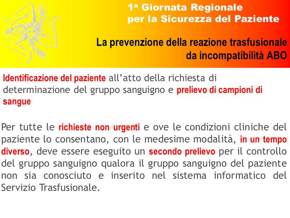 1 a Giornata Regionale per la Sicurezza del Paziente La prevenzione della reazione trasfusionale da incompatibilità ABO Per tutte le richieste non urg