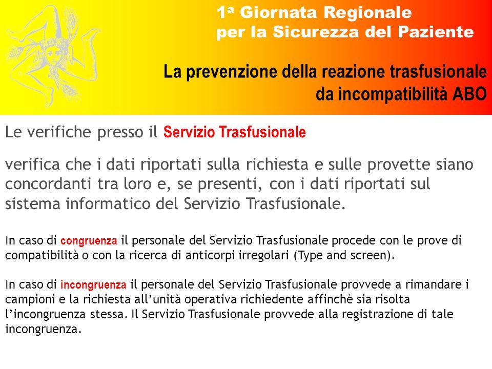 1 a Giornata Regionale per la Sicurezza del Paziente La prevenzione della reazione trasfusionale da incompatibilità ABO Le verifiche presso il Servizi