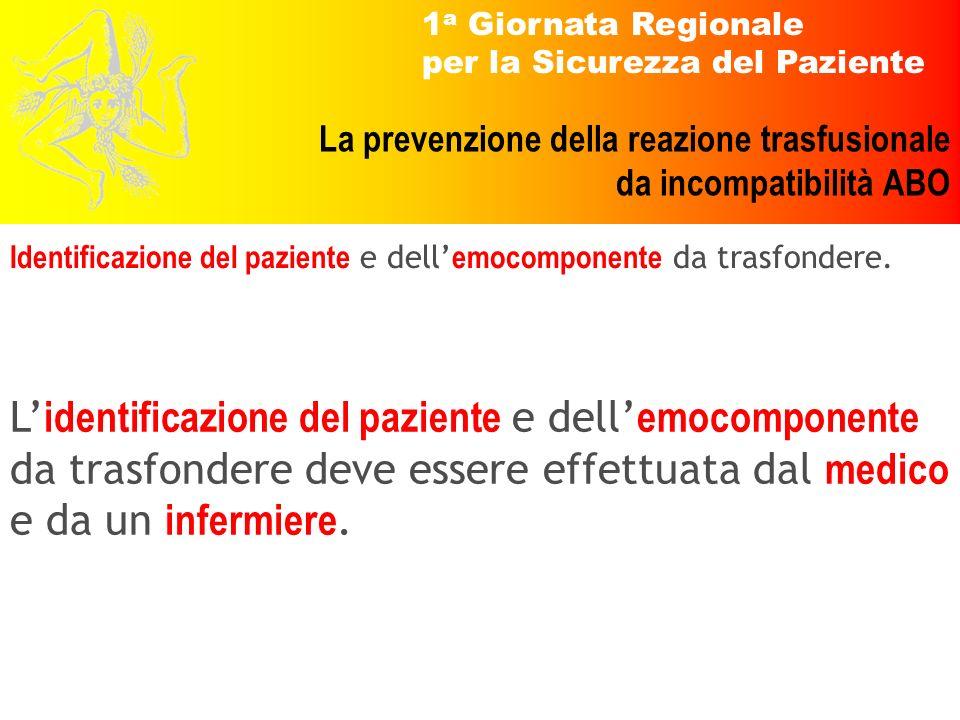 1 a Giornata Regionale per la Sicurezza del Paziente La prevenzione della reazione trasfusionale da incompatibilità ABO Identificazione del paziente e