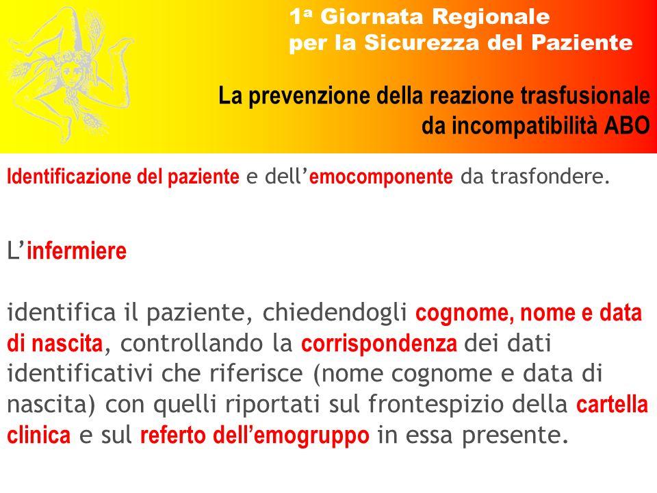 1 a Giornata Regionale per la Sicurezza del Paziente La prevenzione della reazione trasfusionale da incompatibilità ABO L infermiere identifica il paz