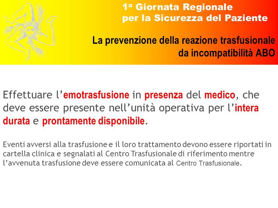 1 a Giornata Regionale per la Sicurezza del Paziente La prevenzione della reazione trasfusionale da incompatibilità ABO Effettuare l emotrasfusione in