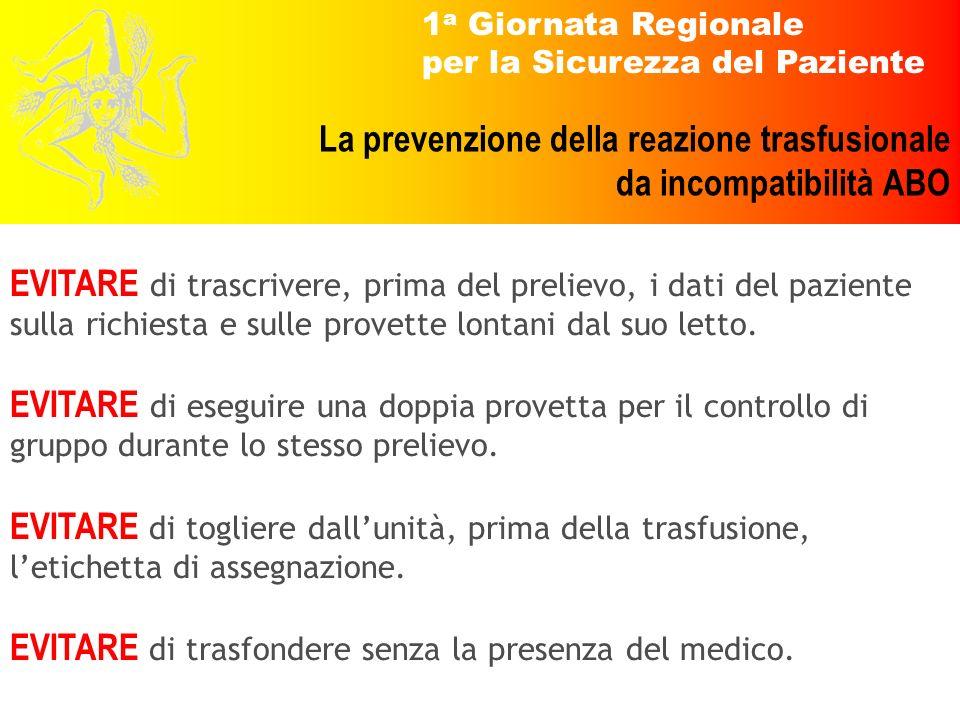 1 a Giornata Regionale per la Sicurezza del Paziente La prevenzione della reazione trasfusionale da incompatibilità ABO EVITARE di trascrivere, prima