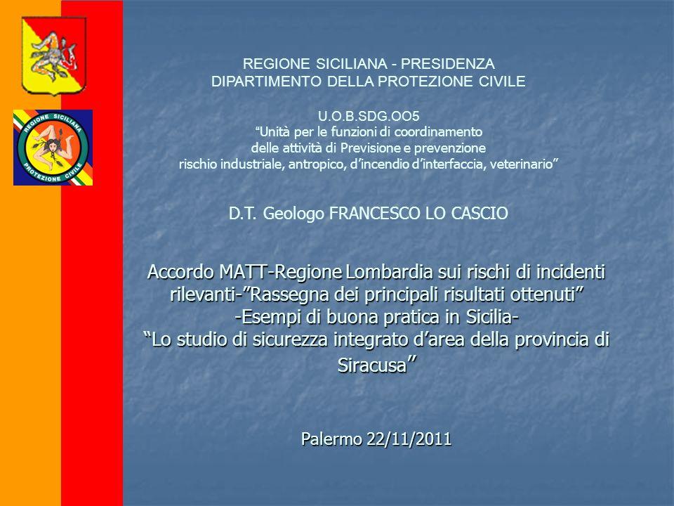 REGIONE SICILIANA - PRESIDENZA DIPARTIMENTO DELLA PROTEZIONE CIVILE U.O.B.SDG.OO5 Unità per le funzioni di coordinamento delle attività di Previsione
