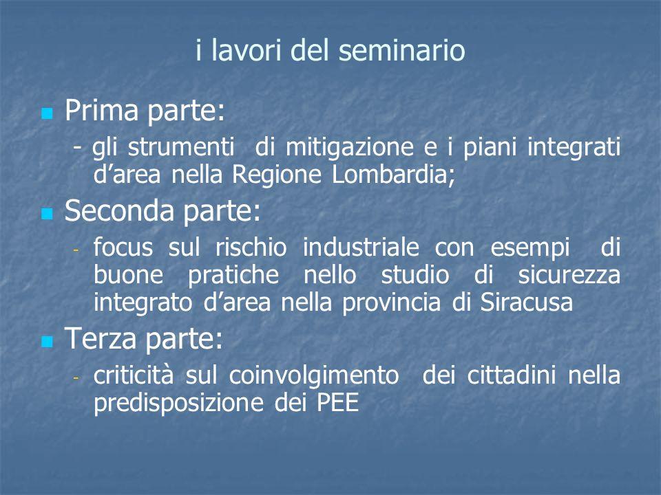 i lavori del seminario Prima parte: - gli strumenti di mitigazione e i piani integrati darea nella Regione Lombardia; Seconda parte: - - focus sul ris