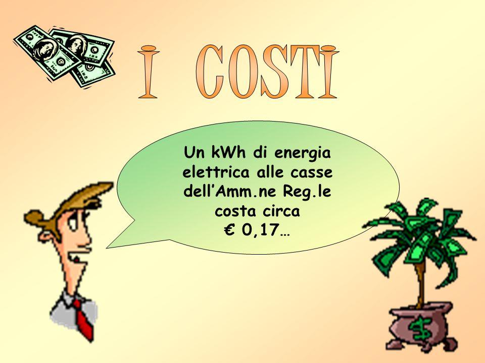 Un kWh di energia elettrica alle casse dellAmm.ne Reg.le costa circa 0,17…