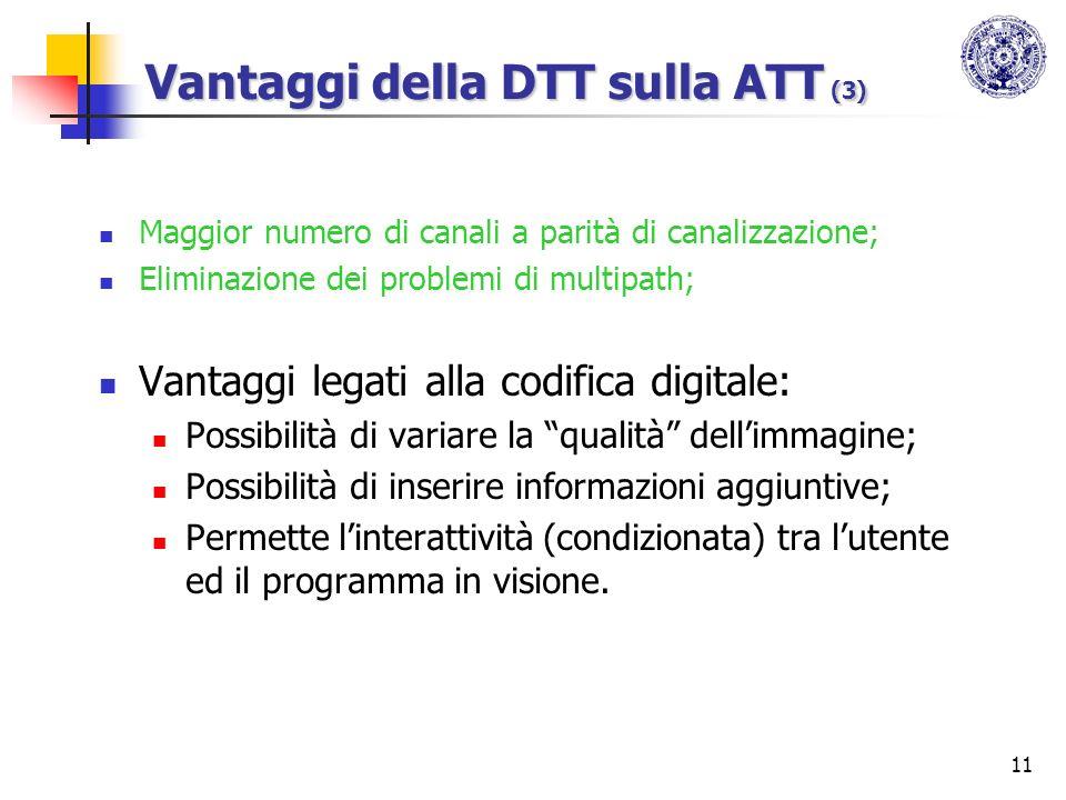11 Vantaggi della DTT sulla ATT (3) Maggior numero di canali a parità di canalizzazione; Eliminazione dei problemi di multipath; Vantaggi legati alla