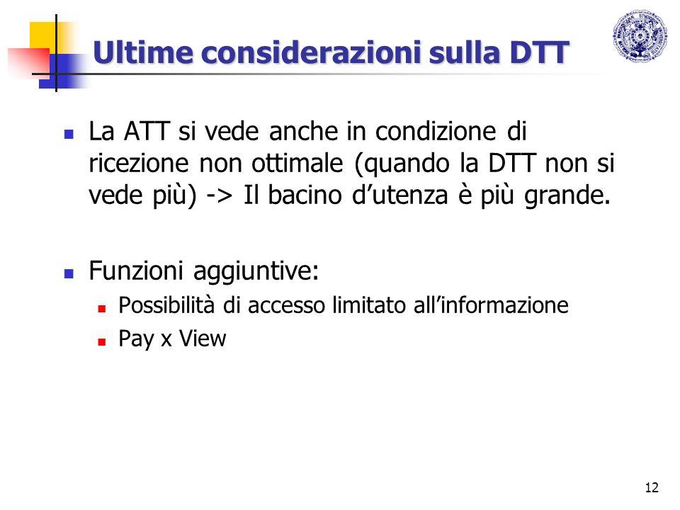 12 Ultime considerazioni sulla DTT La ATT si vede anche in condizione di ricezione non ottimale (quando la DTT non si vede più) -> Il bacino dutenza è